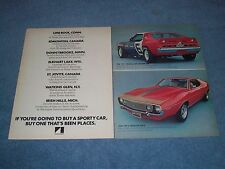 1972 AMC Javelin AMX 2pg Vintage Color Ad with Trans-Am Champion Mark Donohue