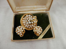 Vintage Krementz 14K Gold Overlay Pearl Brooch & Earrings clip on