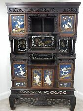 Antique Chinese Intricately carved Rosewood Etagere Cabinet  72 inches