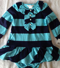 NWT Ralph Lauren 2 Piece Rugby Blue Teal Ruffle LS Outfit 18M