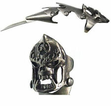 "Skull Finger Claw Ring With Blade Iron Reaver 5.5"" Pocket Knife Handle New"