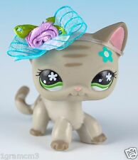 Littlest Pet Shop Shorthair Cat #483 Gray with Green Eyes Blue Flower On Head
