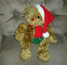 Sterling Musical Christmas Bear 14in Tan Curly Plush Light Up Nose Red Hat Scarf