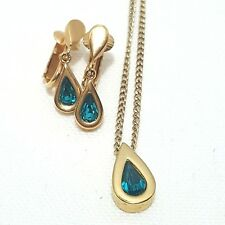 Avon Teardrop Aqua Clip on Earring and Necklace Set