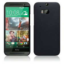 Solid Black Rubberised Hard Back Cover Case for New HTC One M8 (2014)