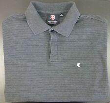 Men's Victorinox Long Sleeve Polo Shirt Large Gray w/ Black Stripes 100% Cotton