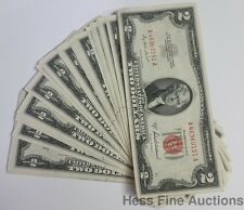 Pack Of 50 Crisp 1953A Red Seal Two Dollar Bill Currency United State Notes $2