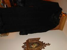 Arden B Coat W/Angora Wool Rabbit Fur Hood Trim Long Black Cape Hood