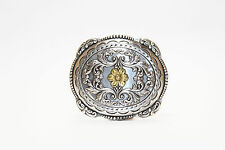 Southern Style Metal Belt Buckle with Flower Imprint
