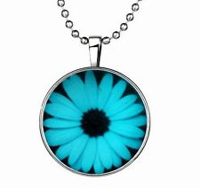 Vogue Punk Style White daisies Glow in the Dark Stainless Steel Necklace Pendant