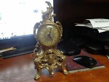 Vintage lanshire Louis XV style. Electric Brass finish shelf/mantle clock runnin