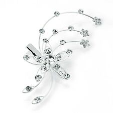 Crystal Flower Splay Mini Silver Hair Beak Clip Concorde Grip Slide Accessories