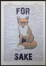 For Fox Sake Quote Vintage Dictionary Page Print Wall Art Picture Hipster Funny