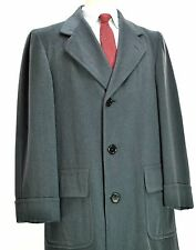Chester Barrie Georgian Covert Overcoat 38R Small Slate Grey Wool Coat 50's vtg