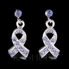 w Swarovski Crystal ~Periwinkle Purple Esophageal Stomach Cancer Ribbon Earrings