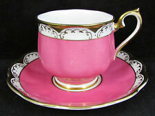 ROYAL ALBERT HOT PINK ART DECO FLUTED TEA CUP AND SAUCER