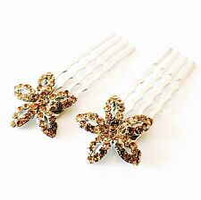 USA MINI Hair Comb Clip Hairpin use Swarovski Crystal Bridal Wedding GOLD Brown