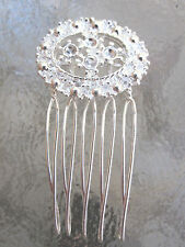 Vintage Silver Plated Wire 5 Tooth Hair Side Comb NEW  Made in USA