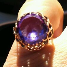 14K SOLID GOLD 13+ CT Victorian Antique Alexandrite Ring Sz 7~Color Change