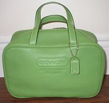 NWOT COACH Leatherware EST. 1941 Green Cosmetic Toiletry Bag Pouch w/ 2 Handles