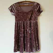 American Apparel Crushed Gray Ice Velvet Metallic Babydoll Mini Dress Size S