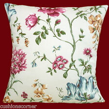 "BRAND NEW ASHLEY WILDE DESIGNER CHINZ FLOWERS COTTON NATURAL 16"" Cushion Cover"