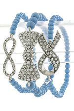 SIDEWAYS BOW STACKED BRACELET TRIO SET BLUE CANDY FOR THE ARM LOVE AND HIP HOP