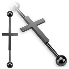 Black Surgical Steel Cross Industrial Scaffold Ear Bar Body Piercing Barbell