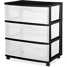 3 DRAWER PLASTIC STORAGE Home Cabinet Organizer Wide ROLLING CART
