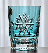 Waterford Aqua Light Blue Cased Cut to Clear Snow Crystals DOF Whiskey Glass New