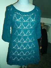 PULL MAILLE AJOURE BLEU  T . 38 / 40