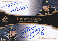 07-08 SP Authentic Thomas Vanek Drew Stafford Auto Sign Of The Times Sabres 2007