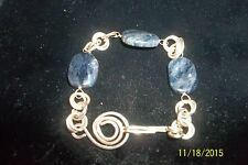 "Sterling Silver - Wrapped Wire Lapis Lazuli Bangle  Bracelet (8"")"