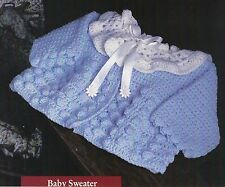 PRETTY Popcorn Stitch Baby Sweater/Crochet Pattern Instructions