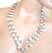 COLLANA donna lunga ARGENTO GRIGIO girocollo pietre dure cristalli collier F150