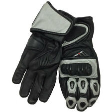Track Moto Leather Motorcycle Riding Gloves Silver XXLarge