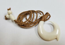 Hawaiian Hand Polynesian White Bone Fish Hook Pendant Brown Men Necklace