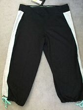 M&S BLACK FITNESS TROUSERS 3/4 LENGTH WITH GREY STRIP JADE TRIM WITH BOW-12-BNWT