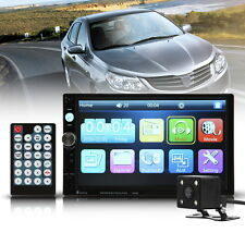 "Rear Camera 7"" HD Double 2 DIN Stereo Car MP5 Player GPS Bluetooth Touch Radio"