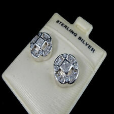 Sterling Silver 14K WHITE G/P Diamond Simulated Round Circle Medallion Earring