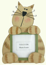 Striped Cat Wooden Picture Frame Wire Whiskers - Perfect Cat Lover Gift