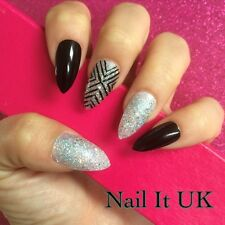 Hand Painted Full Cover False Nails. Stiletto Black & Silver Glitter . 24 Nails