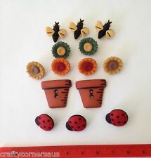 Lady Bugs Bees Flowers Pots Novelty Buttons by Dress It Up 1226