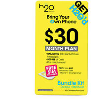 H2O Wireless Micro Sim Card with First Month Included : $30 Plan H20+ $10 Intl.