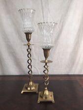 2 Vintage Clear Heavy Optic Glass Peg Candle Votive Cups Home Interiors Unique