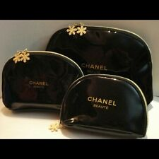 CHANEL 3 Pc Makeup Cosmetic Bags Gold Snowflake Zipper Pull NEW FREE SHIP