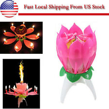 1Pcs Magical Flower Birthday Blossom Lotus Musical Candle Romantic Party  -US