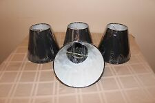 """NEW Clip-on, Black, Round Lamp Shades, 8"""" Tall, Set of 4"""