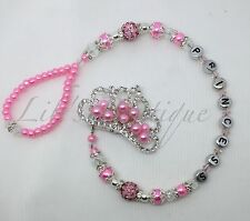 Pink Diamante Crown-Romany-bling Dummy Clip