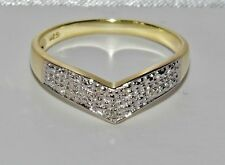Stunning 9ct Yellow Gold & Silver Diamond Wishbone Eternity Ring size U